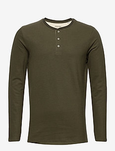 JJEJEANS HENLEY L/S NOOS - basic t-shirts - olive night