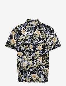 JJGREG AOP SHIRT SS PLAIN - kortärmade skjortor - black