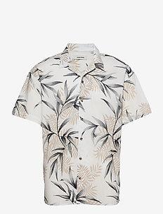 JJGREG AOP SHIRT SS PLAIN - kortärmade skjortor - cloud dancer