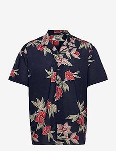 JJGREG AOP SHIRT SS PLAIN - kortärmade skjortor - navy blazer