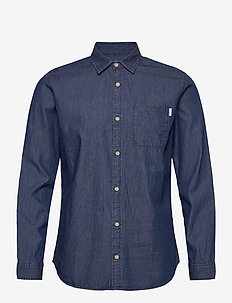 JJTED SHIRT LS - peruspaitoja - dark blue denim