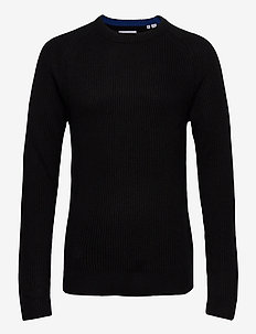 JJPANNEL KNIT CREW NECK - basisstrikkeplagg - black