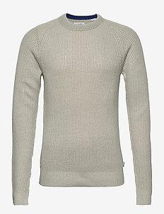 JJPANNEL KNIT CREW NECK - tricots basiques - cloud dancer