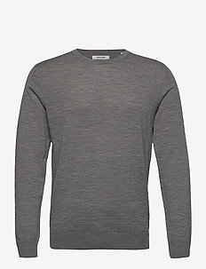 JJEMARK MERINO KNIT CREW NECK NOOS - knitted round necks - grey melange