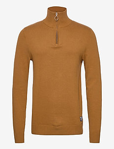JORELI KNIT HIGH NECK ZIP - half zip jumpers - rubber