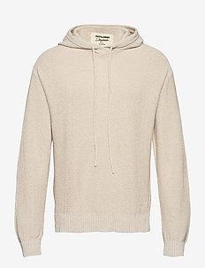 JORCALVIN KNIT HOOD BLK - basic sweatshirts - peyote