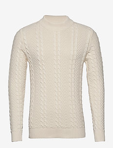 JPRBLUJULIAN KNIT CABLE HIGH NECK - tricots basiques - whisper white