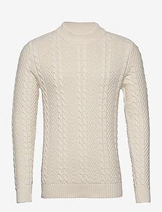JPRBLUJULIAN KNIT CABLE HIGH NECK - round necks - whisper white
