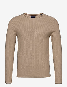 JPRBLUCARLOS KNIT CREW NECK NOOS - tricots basiques - oatmeal