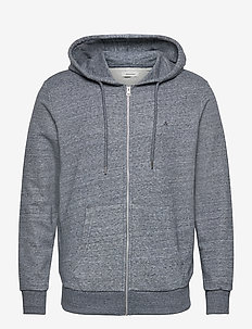 JJEBASIC MELANGE SWEAT ZIP HOOD - sweats basiques - maritime blue