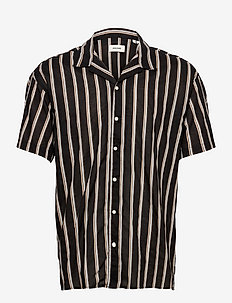 JJGREG STRIPE SHIRT SS PLAIN - kortärmade skjortor - black