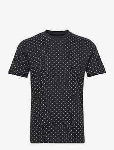 JJMINIMAL AOP TEE SS CREW NECK - kortärmade t-shirts - dark navy