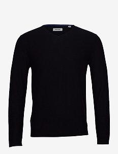JJTHORN KNIT V NECK - basic knitwear - navy blazer