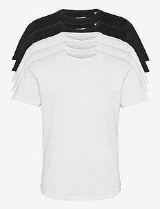 JJENOA TEE SS CREW NECK 5PK MP - kortärmade t-shirts - black