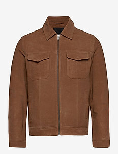 JPRRIC LEATHER JACKET - skinnjackor - cognac