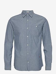 JPRBLUNICK MIX SHIRT L/S ONE POCKET LTN - basic skjortor - medium blue denim