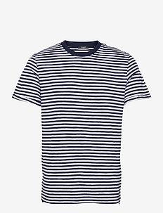 JPRBLABEACH SS TEE STRIPE - kortärmade t-shirts - new navy