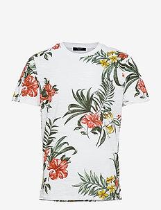 JPRBLABEACH SS TEE AOP LTN - kortärmade t-shirts - white