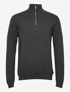 JJEBASIC KNIT HALF ZIP - half zip - dark grey melange