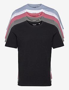 JJEORGANIC BASIC TEE SS O-NECK 5PK MP - basic t-shirts - black