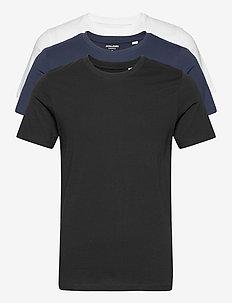 JJEORGANIC BASIC TEE SS O-NECK 3PK MP - basic t-shirts - black