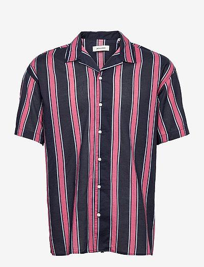 JJGREG STRIPE SHIRT SS PLAIN - kortærmede skjorter - slate rose