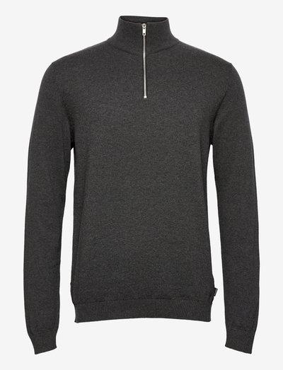 JJEBASIC KNIT HALF ZIP - half zip-tröjor - dark grey melange