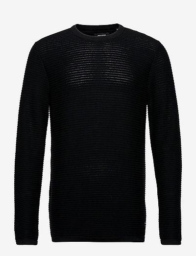JJEWIND KNIT CREW NECK - basic strik - black