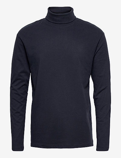 JJERILEY TEE LS ROLL NECK SN - basic t-shirts - navy blazer