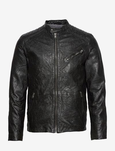 JJEJOEL LEATHER JACKET NOOS - læderjakker - black