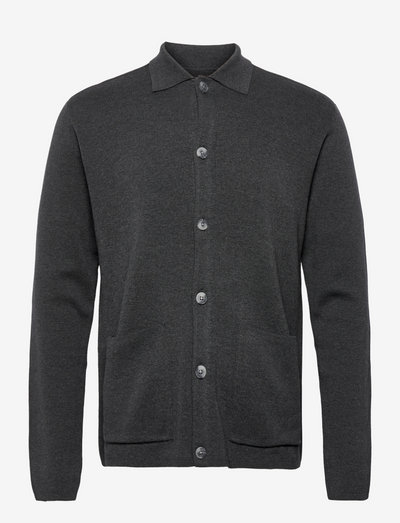 JPRBLAJAMES CARDIGAN KNIT - tricots basiques - dark grey melange