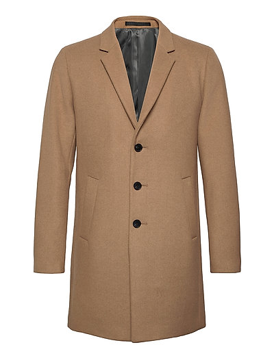JACK & JONES Jjemoulder Wool Coat Sts Wollmantel Mantel Braun JACK & J S   JACK & JONES SALE