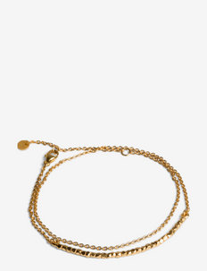 Bead Bracelet with Chain - dainty - gold