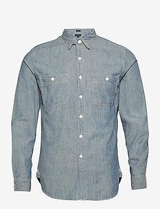 Vintage Chambray Utility Shirt - basic skjortor - blue