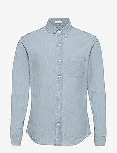 Slim Organic Stretch Chambray Light Wash - basic skjortor - blue