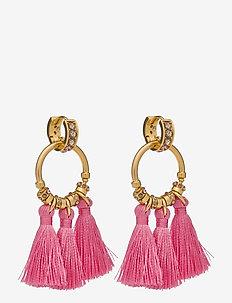 Tiki Tassel Earrings - statement oorbellen - pink