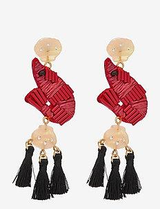 Shrimpy Tassel Earrings - statement oorbellen - red