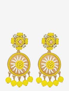 Citron Beaded Drop Earrings - statement oorbellen - yellow