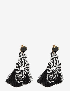 Sailors Knot Tassel Earrings - statement oorbellen - black