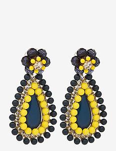 Citron Flower Drop Earrings - statement oorbellen - multi