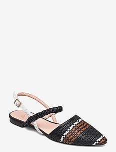 Marina Slide In Woven With Ankle Strap - slingbacks - black