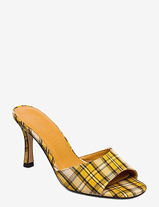 Check - mules - yellow checked textile