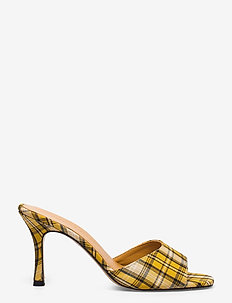 Check - mules & slipins - yellow checked textile
