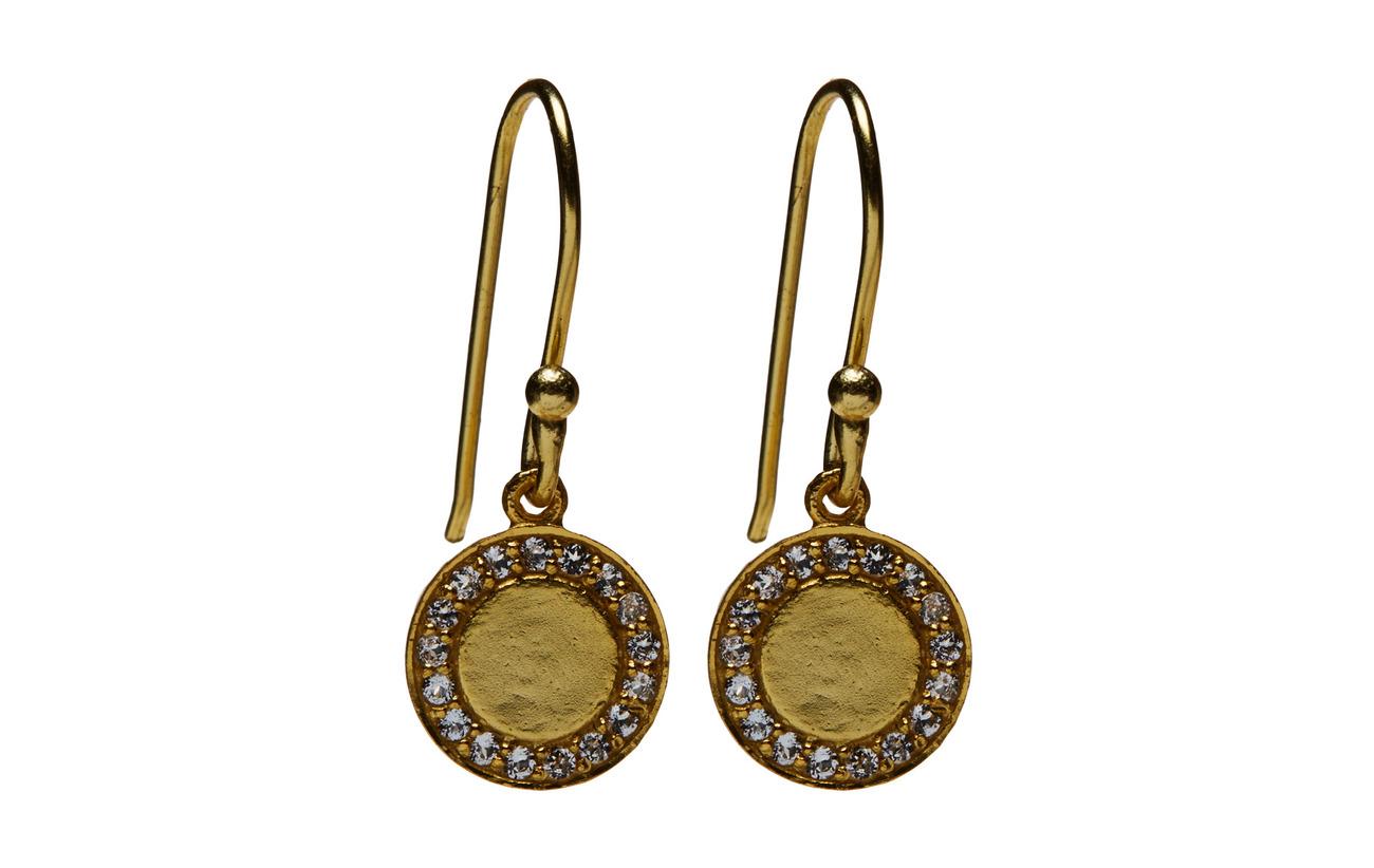 Jewlscph Halo Medalion Earrings - WHITE QUARTZ
