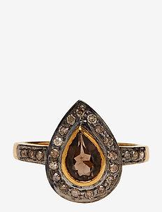 Mini Superiour Diamond Ring - rings - smoky quartz
