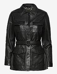 Jofama - Michelle Midi Leather Jacket - skinnjackor - black - 0