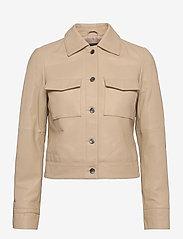 Jofama - Lynn Pocket Leather Jacket - skinnjakker - sand - 0