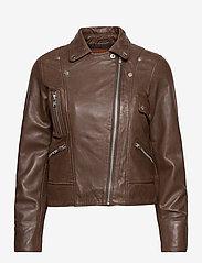 Jofama - Kaley Leather Biker - skinnjackor - brownie - 0