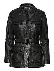 Michelle Midi Leather Jacket - BLACK