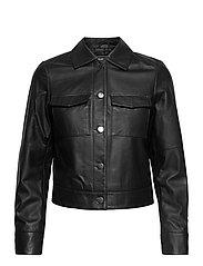 Lynn Pocket Leather Jacket - BLACK